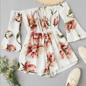 SHEIN floral off the shoulder romper